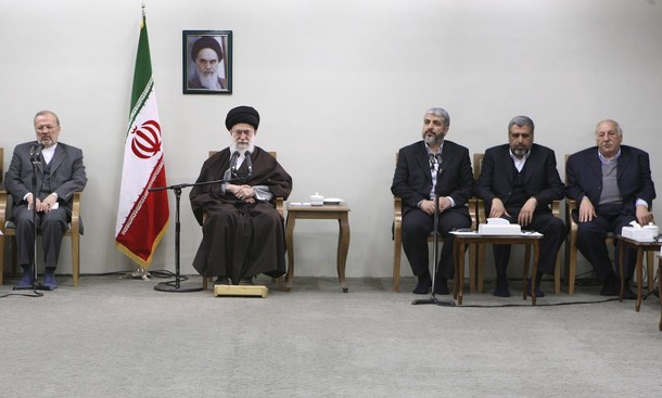 Iranian FM Mottaki, Iran's Supreme Leader Ayatollah Khamenei, Hamas leader Meshaal, Shallah, and Jibril PFLP-GC, attend official meeting in Tehran