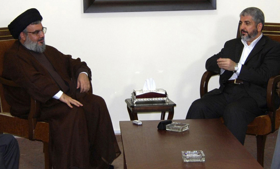 Lebanon's Hezbollah Leader Sayyed Hassan Nasrallah meets with Hamas leader Khaled Meshaal in Beirut