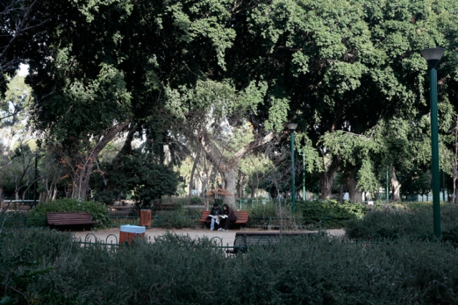 couple reading on a bench in Park Meir