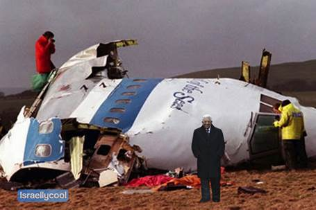 Abbas bij het wrak Pan Am Flight 103 Lockerbie affaire van 1988