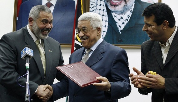 Palestinian President Abbas gives letter of appointment to PM Haniyeh in Gaza